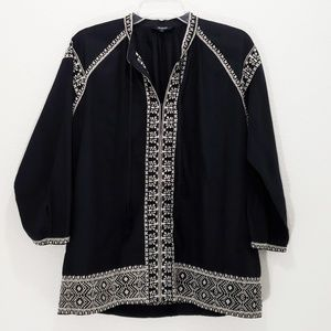 Madewell Tunic Top Black Embroidered Long Sleeve S